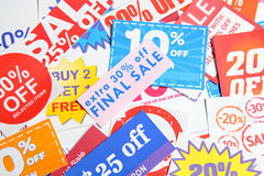 Coupons. Group of the different Coupons Royalty Free Stock Photo