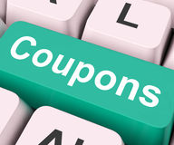 Coupons Key Means Voucher Or Slip. Coupons Key On Keyboard Meaning Voucher Token Or Slip Stock Photos