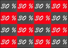 Coupons with 30 percent discount. In red and gray Royalty Free Stock Image
