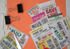 Coupons saving. A few of coupons saving for shopping Stock Image
