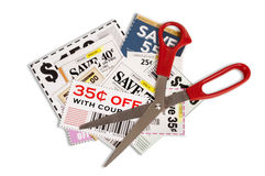 Coupons With Scissors XXXL stock photography