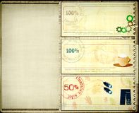 Coupons set. Grunge background with coupons set Stock Photography