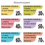 Daily coupons for shopping. Coupons for shopping, different sale Royalty Free Stock Image