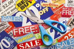 Coupons. Vouchers store sale frugal cut coupon retail royalty free stock photos