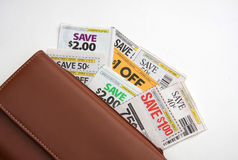 Coupons and wallet. Some coupons for shopping in wallet Royalty Free Stock Images