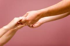 Coups de main + CHEMIN Images libres de droits