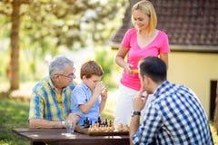 Coupure d'une partie d'échecs avec la famille Photographie stock