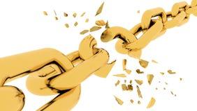 Coupure de chaîne d'or d'isolement dans le blanc - rendu 3d photographie stock libre de droits