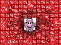 Coupure de tirelire de porc un mur des cubes avec le symbole de pour cent illustration de vecteur