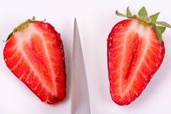 Coupure des fraises sur un fond blanc avec le couteau d'un chef en métal images libres de droits