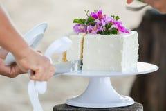 Coupure du gâteau Images stock