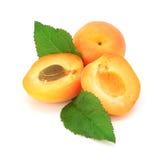 Coupure fraîche de fruits d'abricot d'isolement photographie stock
