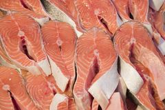Coupures fraîches des saumons Images stock