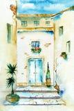 Cour d'aquarelle Photo stock