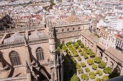 Cour d'arbre orange de la cathédrale de Séville Photographie stock