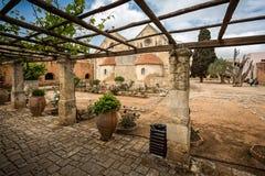 Cour d'Arkadi Monastery en Crète Image stock