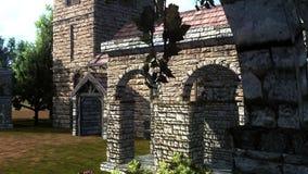 Cour d'un château avec le mur, les bâtiments et les usines de château Photographie stock libre de droits