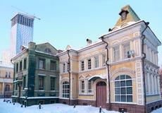Cour de jeu avec la ville de Russe de décorations Photographie stock