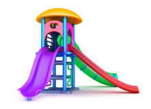 Cour de jeu colorée pour les enfants Sur le blanc Photo stock