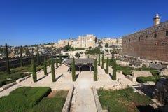 Cour de palais d'Umayyad et mur du sud Image stock