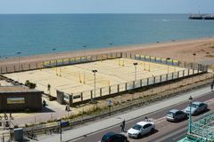 Cour de volleyball sur la plage de Brighton Image libre de droits