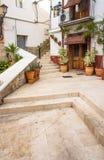 Cour en vieux secteur historique de Santa Cruz d'Alicante, pots de fleurs de terracota, vieilles maisons Images libres de droits