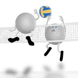 Cour et combat de volleyball Photographie stock libre de droits