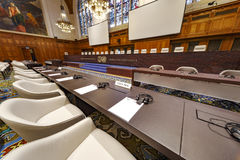 Cour internationale de Justice Courtroom photographie stock