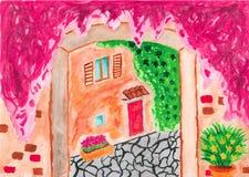 Cour italienne dans l'aquarelle illustration stock