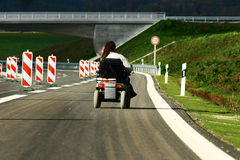 Courage. Handicapped person on motorway in Germany Stock Images