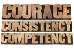 Courage, consistency, competency. 3 Cs concept of character based leadership - isolated text in vintage letterpress wood type stock photo