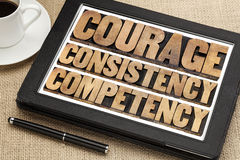 Courage, consistency, competency. In vintage letterpress wood type on a digital tablet with a cup of coffee royalty free stock photography