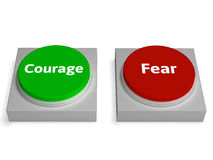 Courage Fear Buttons Shows Bravery Or Scared Stock Images