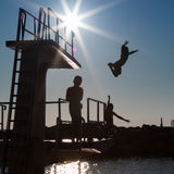 Courage and Jump: Success Abstract Concept Royalty Free Stock Photography