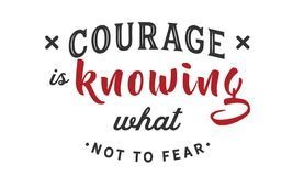 Courage is knowing what not to fear. Quote illustration stock illustration