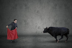 Courage of manager face a bull. Businessman standing in front of angry bull while holding a red cloth Royalty Free Stock Photography