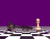 Courage and powers abstract concept with chess pawn and chess king. Purple background. Stock Photography