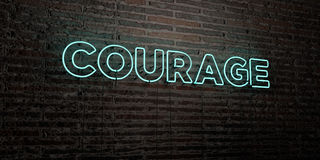 COURAGE -Realistic Neon Sign on Brick Wall background - 3D rendered royalty free stock image Royalty Free Stock Image