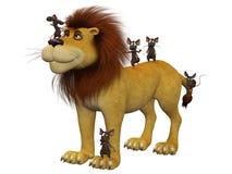 Courage, souris de la bande dessinée 3d avec un lion illustration stock