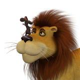 Courage, souris de la bande dessinée 3d avec un lion Photographie stock