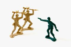 Courage - Two on One Plastic Soldiers Royalty Free Stock Photos