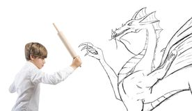 Courageous child. Concept of courageous child with drawing of dragon Royalty Free Stock Photos