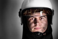 Courageous fireman Stock Image