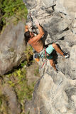 Courageous Rock Climber Aerial Shot Royalty Free Stock Image