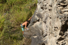 Courageous Rock Climber Aerial Shot Royalty Free Stock Photography