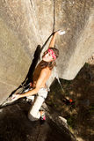 Courageous Rock Climber Aerial Shot Stock Photo