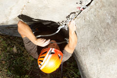 Courageous Rock Climber Aerial Shot Stock Image