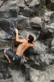 Courageous Rock Climber Aerial Shot Stock Images
