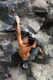 Courageous Rock Climber Aerial Shot Stock Photos