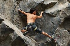 Courageous Rock Climber Aerial Shot Stock Image